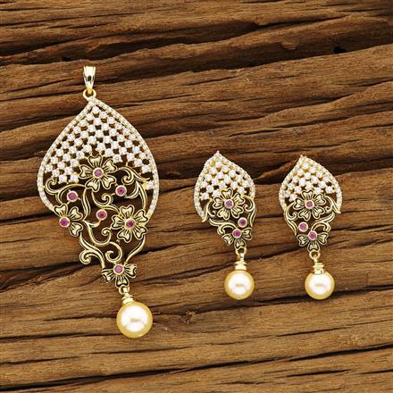 54361 CZ Classic Pendant Set with gold plating