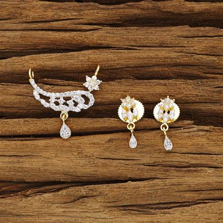 54379 CZ Delicate Mangalsutra with 2 tone plating