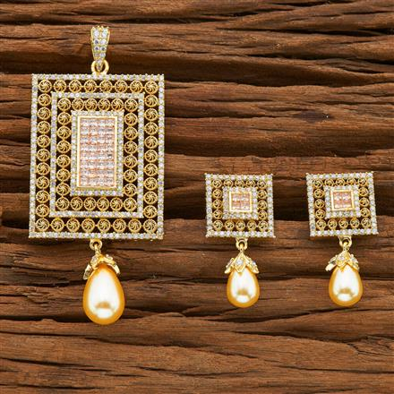 54397 CZ Classic Pendant Set with gold plating