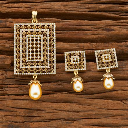 54398 CZ Classic Pendant Set with gold plating