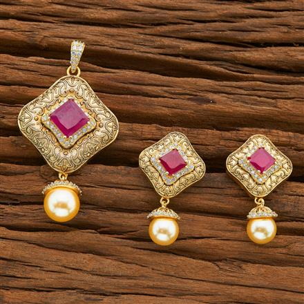 54399 CZ Classic Pendant Set with gold plating