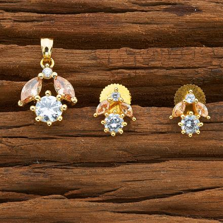 54402 CZ Delicate Pendant Set with gold plating