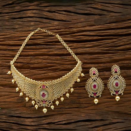 54420 CZ Mukut Necklace with gold plating