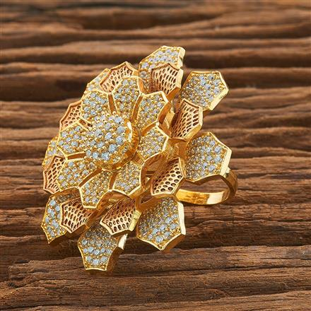 54424 CZ Classic Ring with gold plating