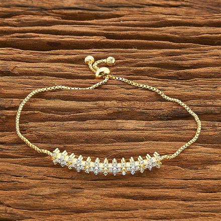 54464 CZ Adjustable Bracelet with 2 tone plating