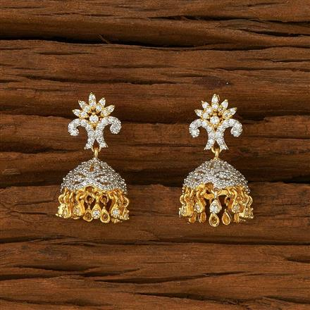 54484 American Diamond Jhumki with 2 tone plating