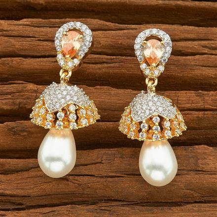 54489 American Diamond Jhumki with 2 tone plating