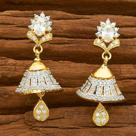 54493 American Diamond Jhumki with 2 tone plating