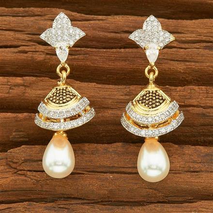 54495 American Diamond Jhumki with 2 tone plating