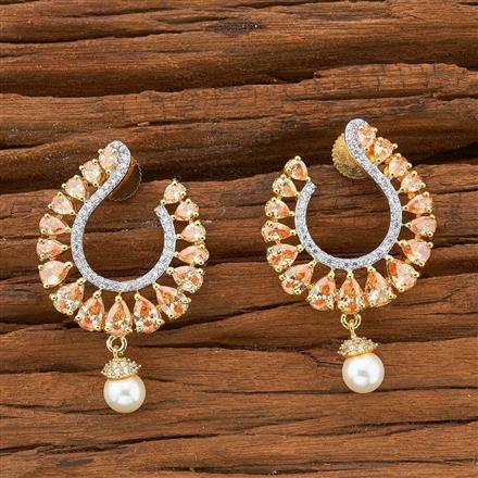 54496 CZ Chand Earring with 2 tone plating