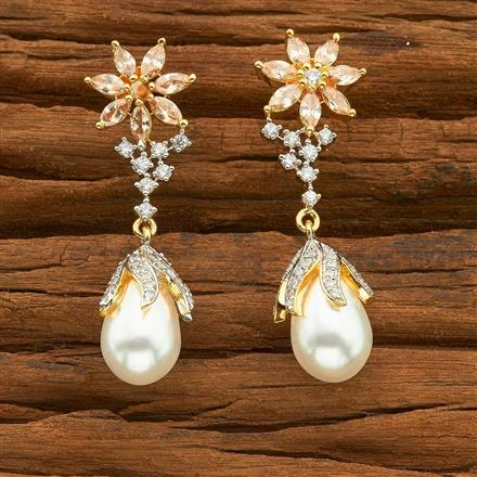 54497 CZ Short Earring with 2 tone plating