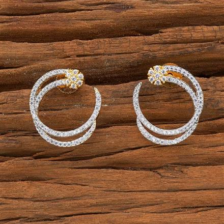 54498 CZ Chand Earring with 2 tone plating