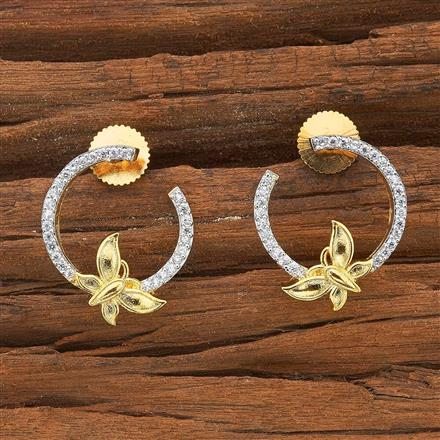 54499 CZ Chand Earring with 2 tone plating
