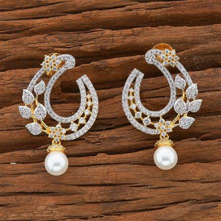 54502 CZ Chand Earring with 2 tone plating