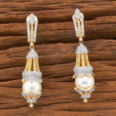 54503 CZ Classic Earring with 2 tone plating