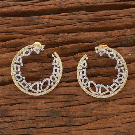 54504 CZ Chand Earring with 2 tone plating