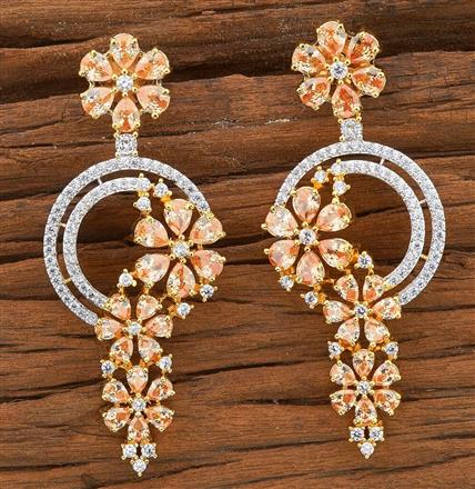 54506 CZ Classic Earring with 2 tone plating