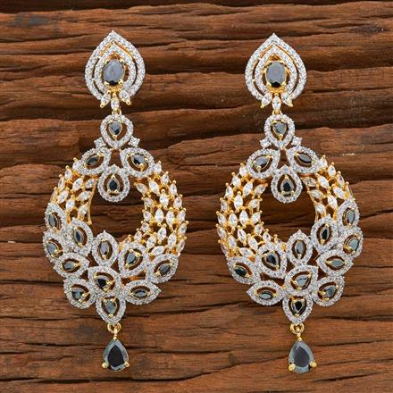54509 CZ Long Earring with 2 tone plating