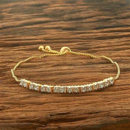 54529 CZ Adjustable Bracelet with 2 tone plating