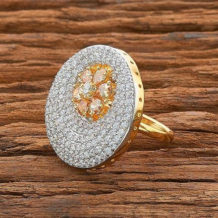 54532 CZ Classic Ring with 2 tone plating