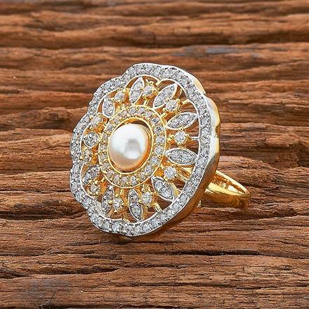 54533 CZ Classic Ring with 2 tone plating