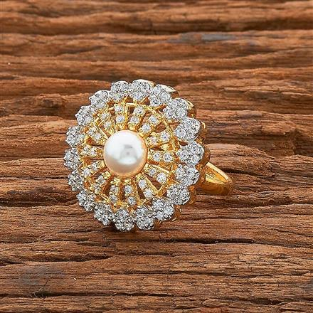 54535 CZ Classic Ring with 2 tone plating