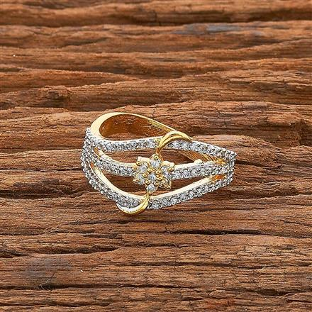 54536 CZ Classic Ring with 2 tone plating