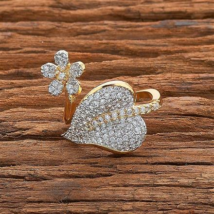 54538 CZ Classic Ring with 2 tone plating