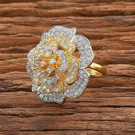 54539 CZ Classic Ring with 2 tone plating