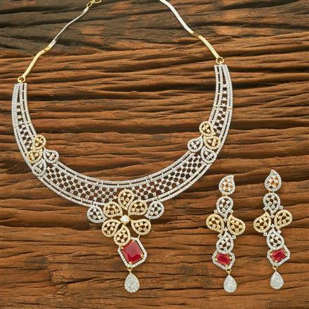 54557 CZ Classic Necklace with 2 tone plating