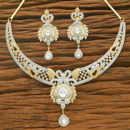 54558 CZ Classic Necklace with 2 tone plating