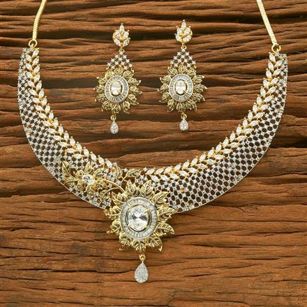54560 CZ Classic Necklace with 2 tone plating