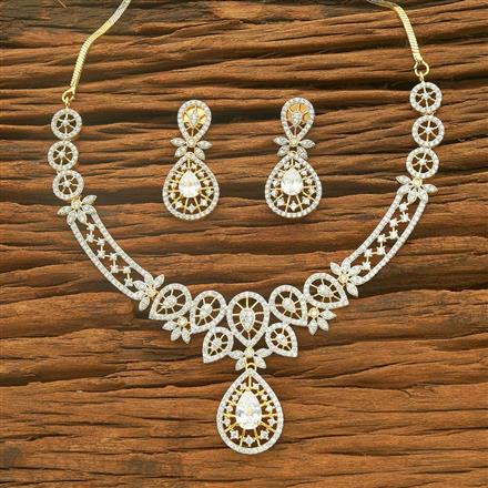54564 CZ Classic Necklace with 2 tone plating