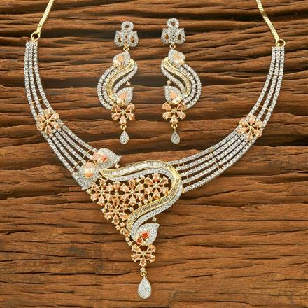 54565 CZ Classic Necklace with 2 tone plating