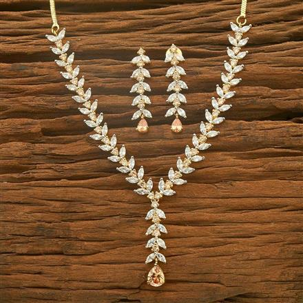 54566 CZ Delicate Necklace with 2 tone plating