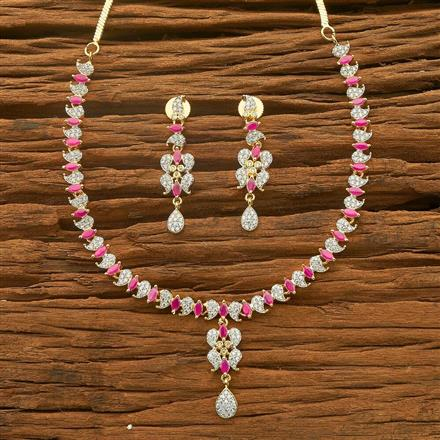 54571 CZ Delicate Necklace with 2 tone plating