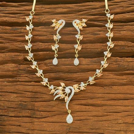54574 CZ Delicate Necklace with 2 tone plating