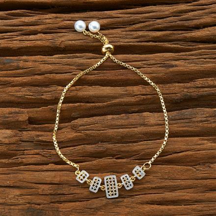 54578 CZ Adjustable Bracelet with 2 tone plating
