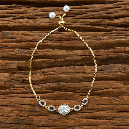 54581 CZ Adjustable Bracelet with 2 tone plating