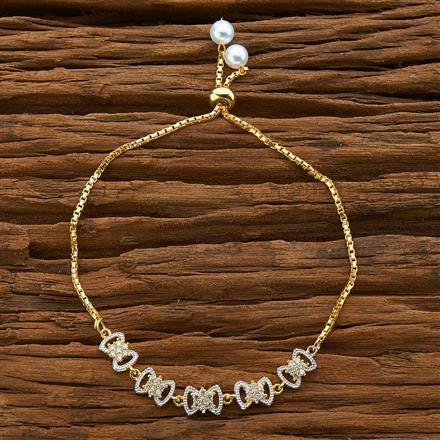 54582 CZ Adjustable Bracelet with 2 tone plating