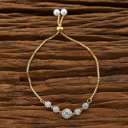 54583 CZ Adjustable Bracelet with 2 tone plating