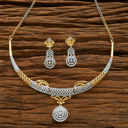 54584 CZ Classic Necklace with 2 tone plating
