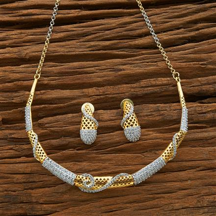 54585 CZ Classic Necklace with 2 tone plating