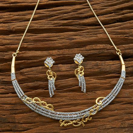 54589 CZ Classic Necklace with 2 tone plating