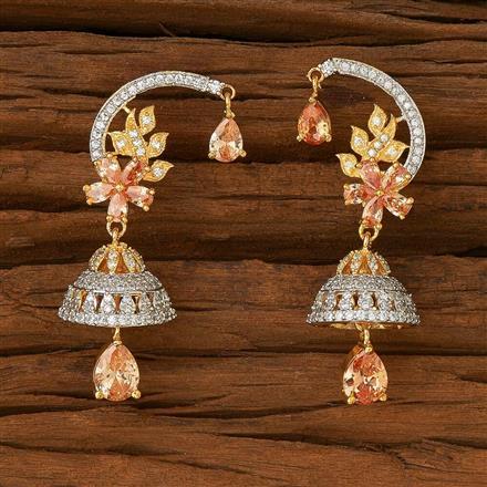 54596 American Diamond Jhumki with 2 tone plating