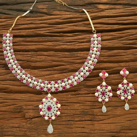 54613 CZ Classic Necklace with 2 tone plating