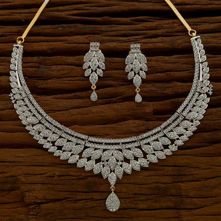 54625 CZ Classic Necklace with 2 tone plating