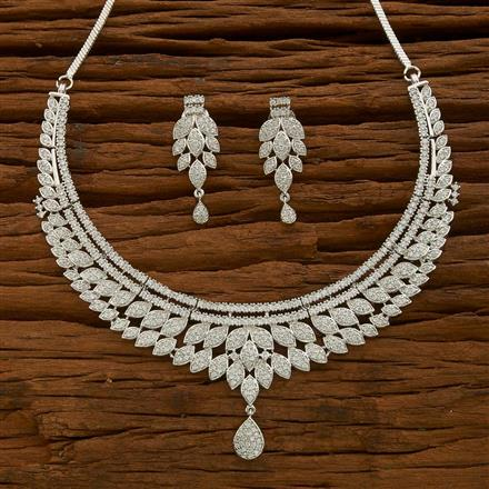 54626 CZ Classic Necklace with rhodium plating