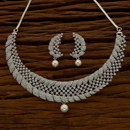 54629 CZ Classic Necklace with rhodium plating