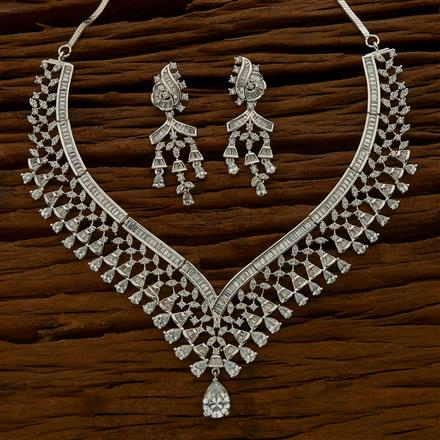 54637 CZ Classic Necklace with rhodium plating